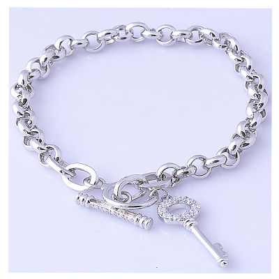 White gold plating sterling silver chain bracelet with key charm