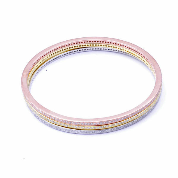 Rose gold/Rhodium/KC Gold plating sterling silver round thin bangle