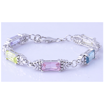 Rhodium Plated sterling Silver Delicated bracelet with colored CZ Diamond