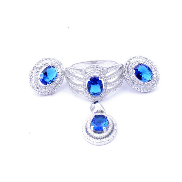 white gold plating sterling silver Sapphire jewelry set