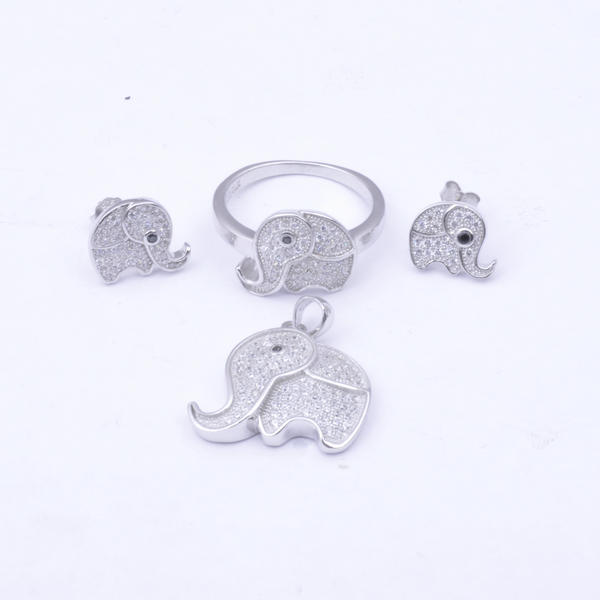 White gold plating sterling silver small cute elephant pendent jewelry set