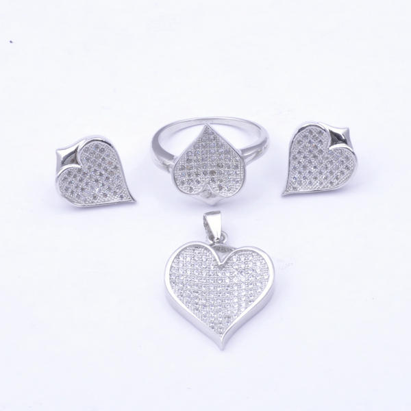 925 sterling silver micro paved Heart shaped jewelry set