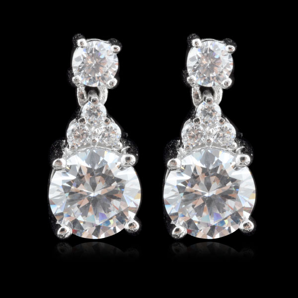 ES13027 Round Shaped Prong Set  CZ Diamond Rhodium Plated Sterling Silver Earring.jpg