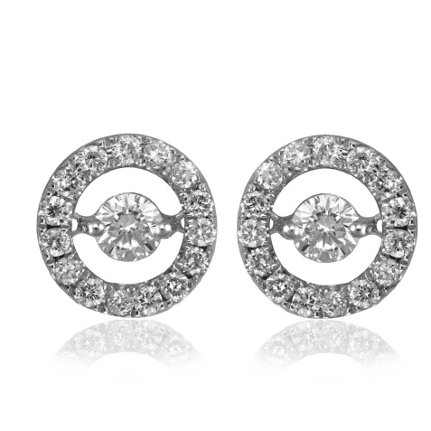 White gold plating 6mm round cubric zircon dancing diamond earring