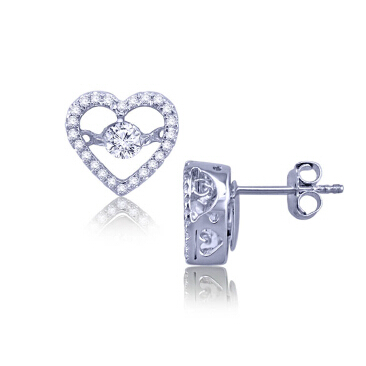 White gold plating brass clear cubric zircon heart shape earring