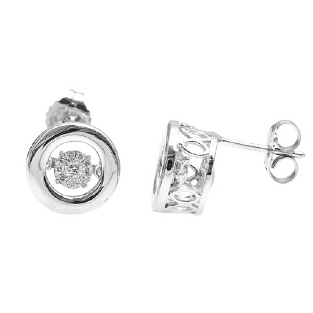 white gold plating brass shiny round zircon stud earring