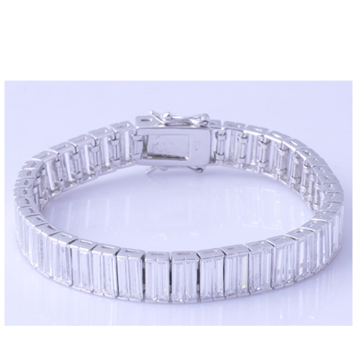 White gold plating clear cubric zircon tennis bracelet
