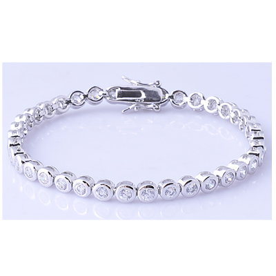 Sterling silver fashion design round zircon stone tennis bracelet