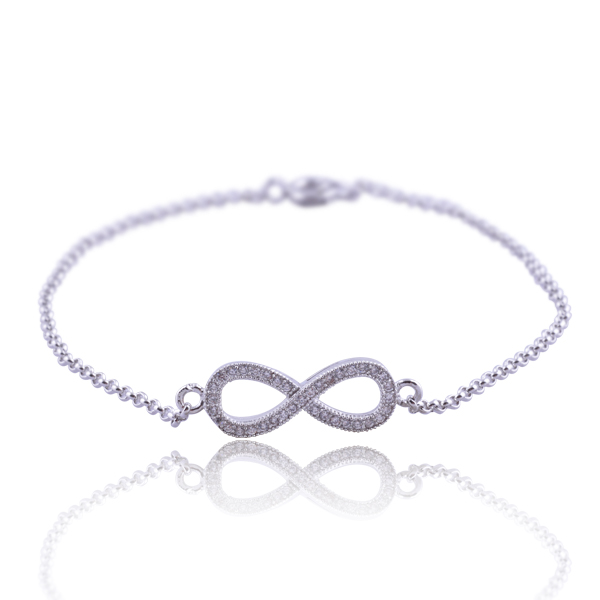 Rhodium plating 925 Sterling silver infinity charm chain women bracelet