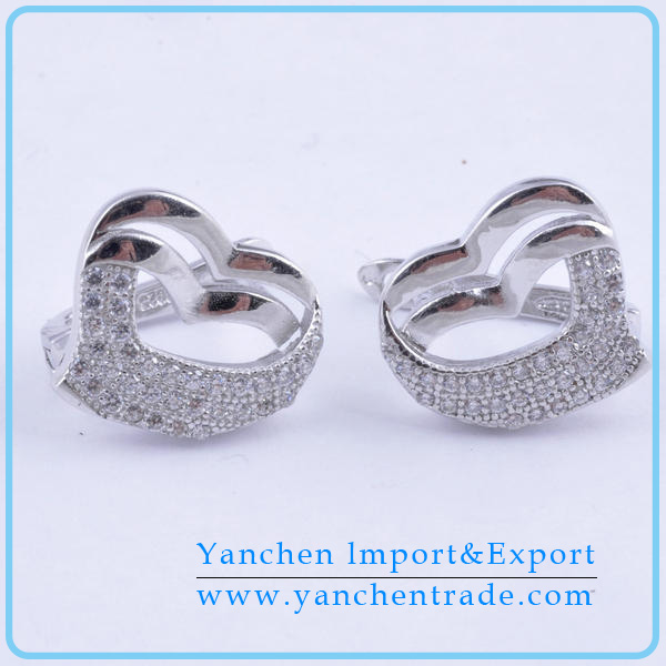 Fashion women 925 sterling silver heart shape stud earring
