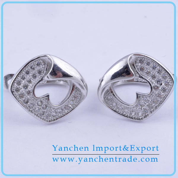 White gold plating 925 sterling silver women micro pave stud earring