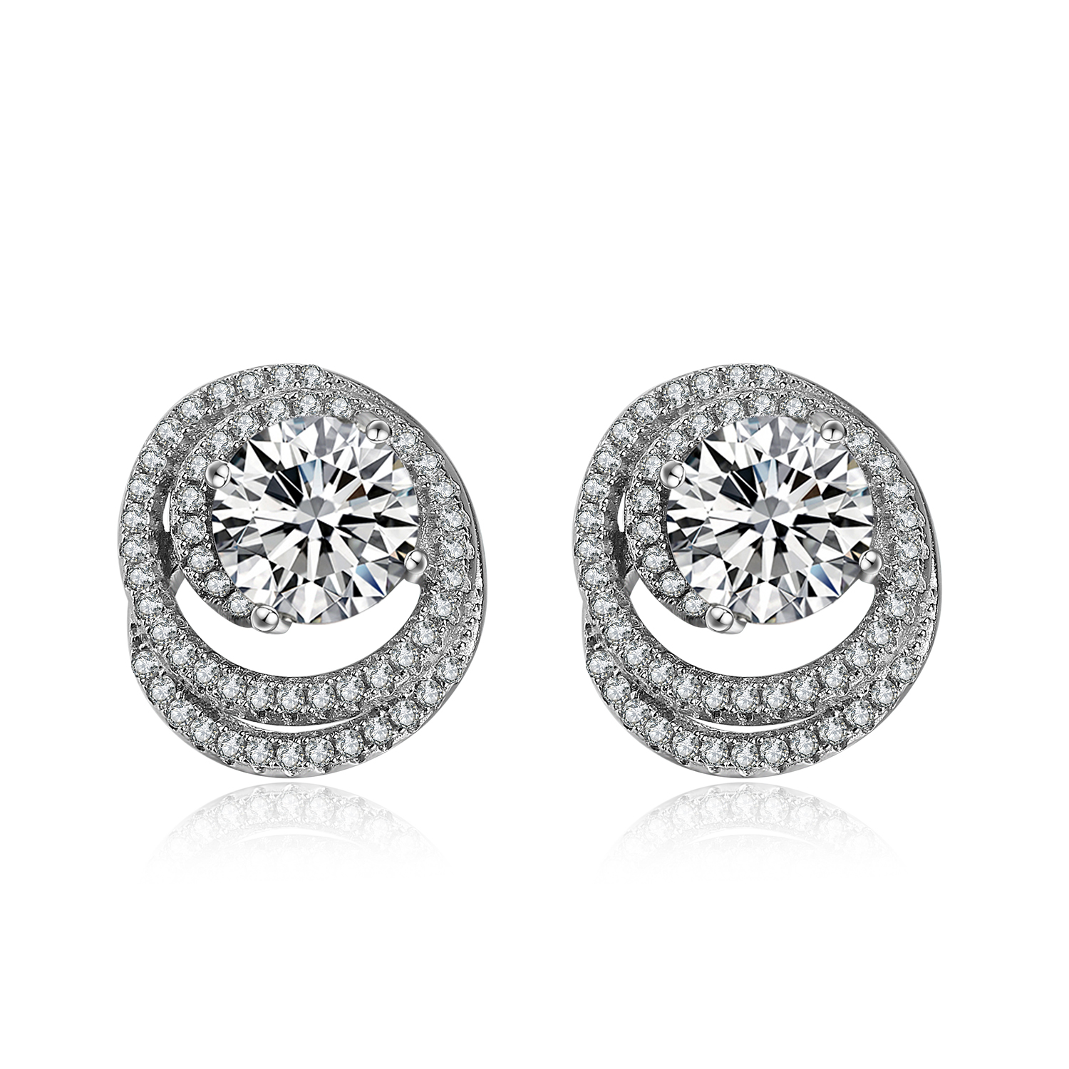 White gold plating Sterling silver cubic zircon earring