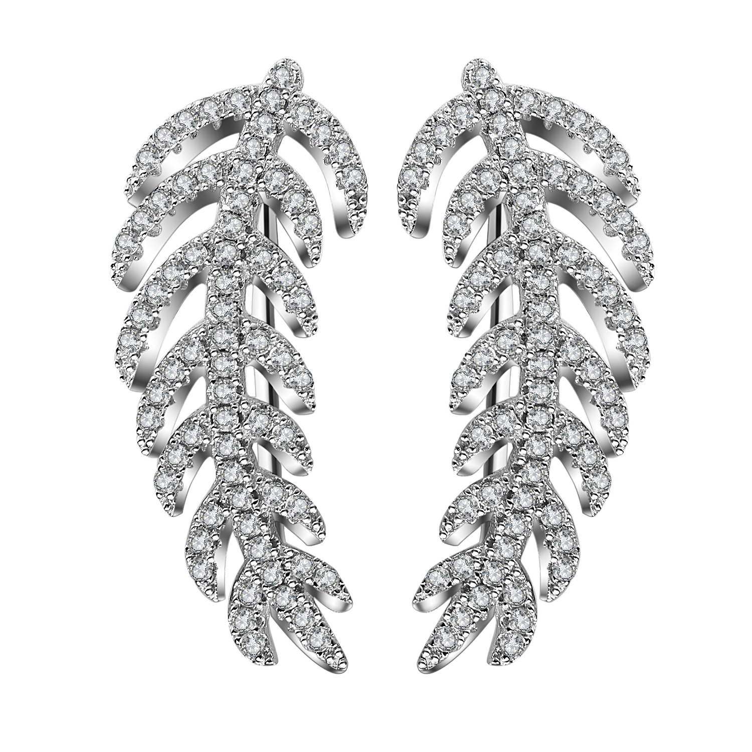 White gold plating 925 sterling silver  long leaf shape earring