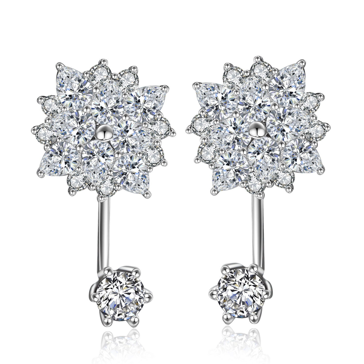 White gold plating Clear cubric zircon sterling silver earring