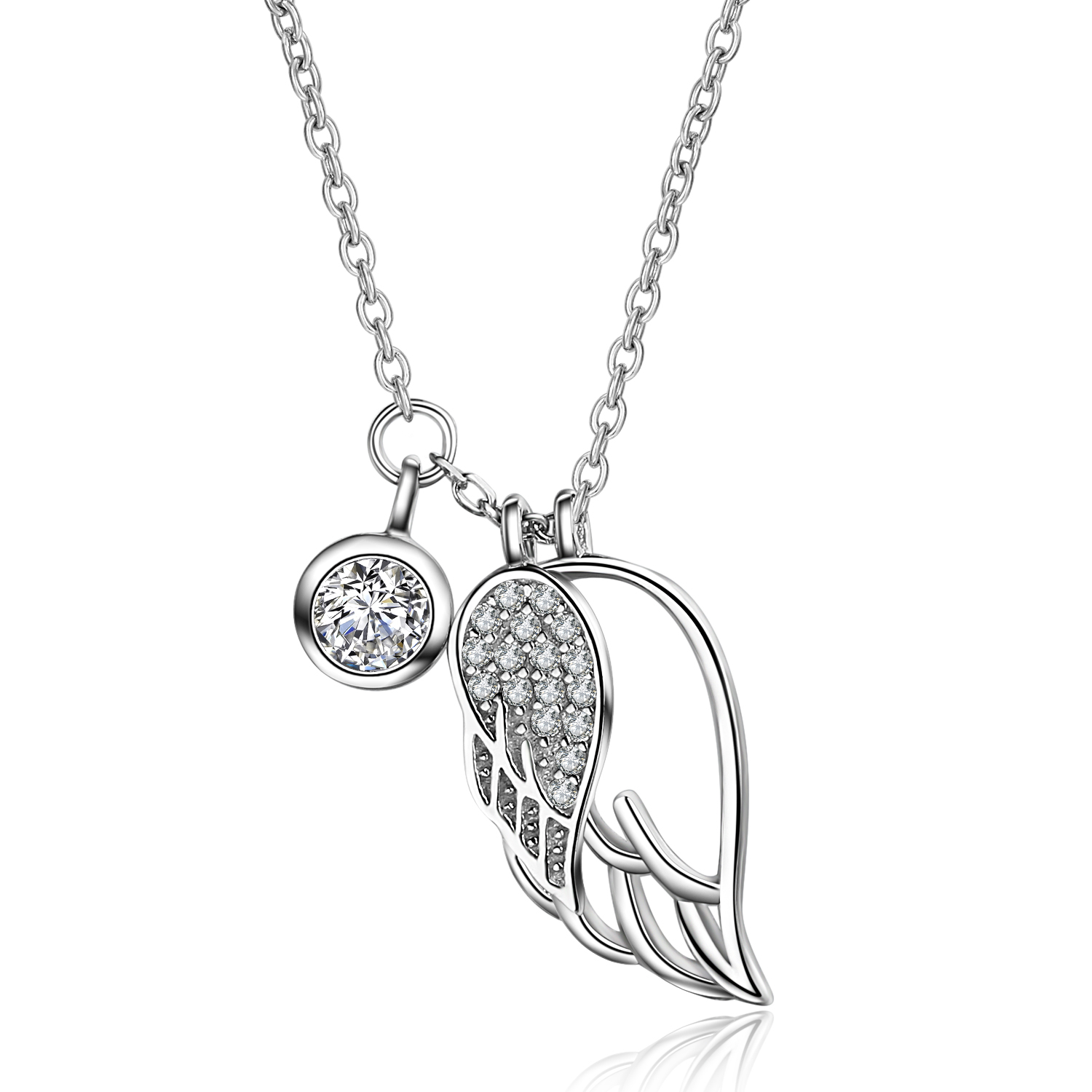 Fashionable 925 sterling silver white gold plating Wing charm necklace