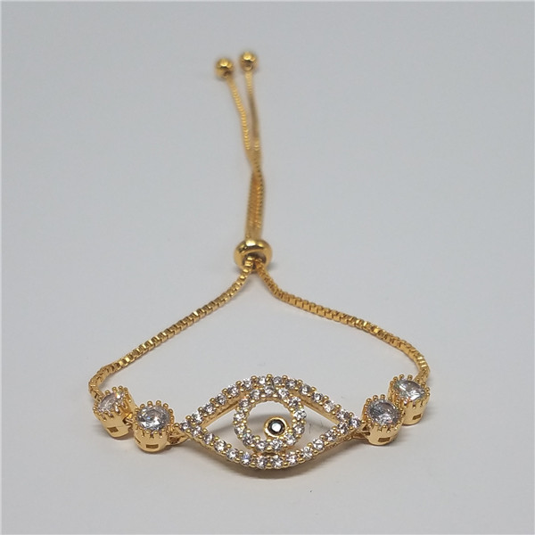 18K gold plated charming eyes design brass bracelet with cz stone