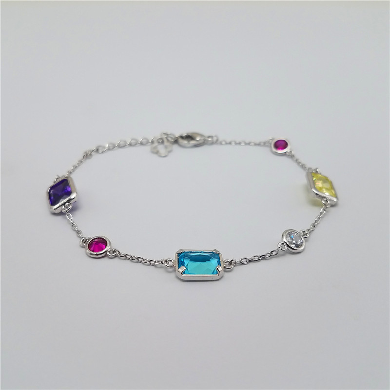 Colorful cz stones 925 sterling silver lobster clasp bracelet for gift