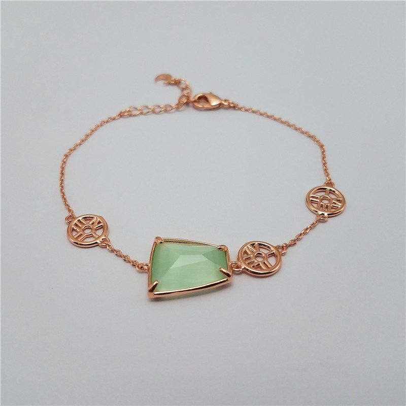 Hot sale rose gold plating samrt brass bracelet for girls