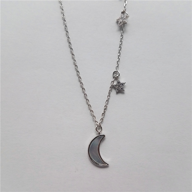Hot sale white gold plated moon and star shape brass nacklace