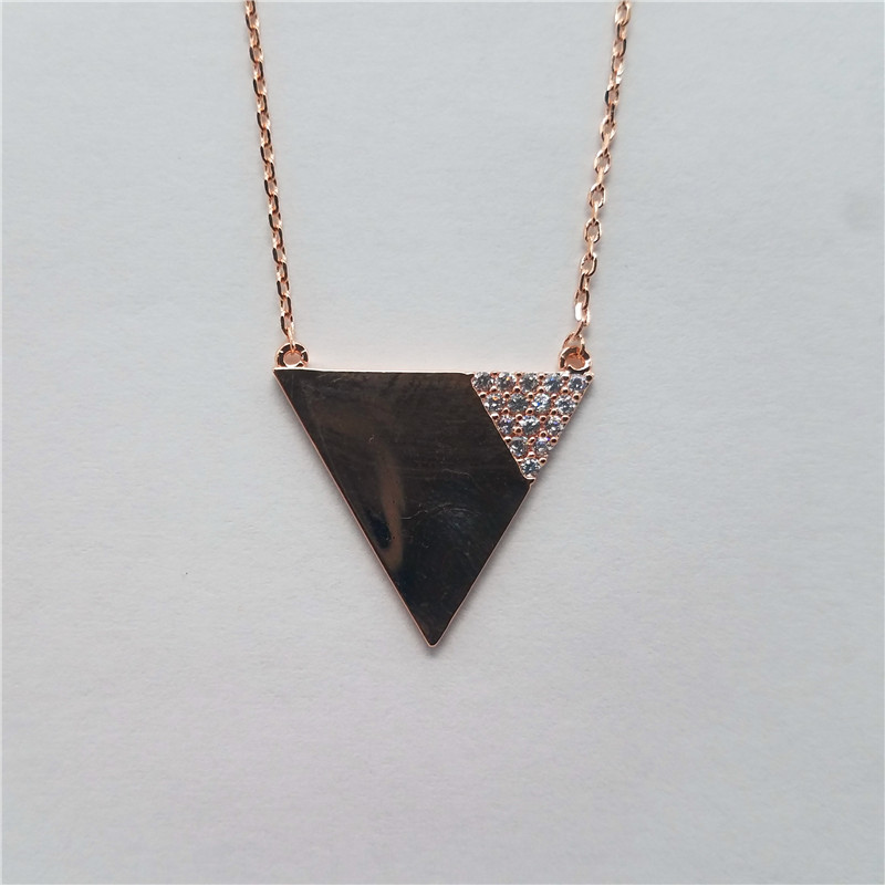 New arrival rose gold plated triangle shape brass nacklace with small cz stones
