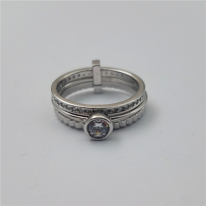 New arrival high quality white gold plated brass ring with cz stones