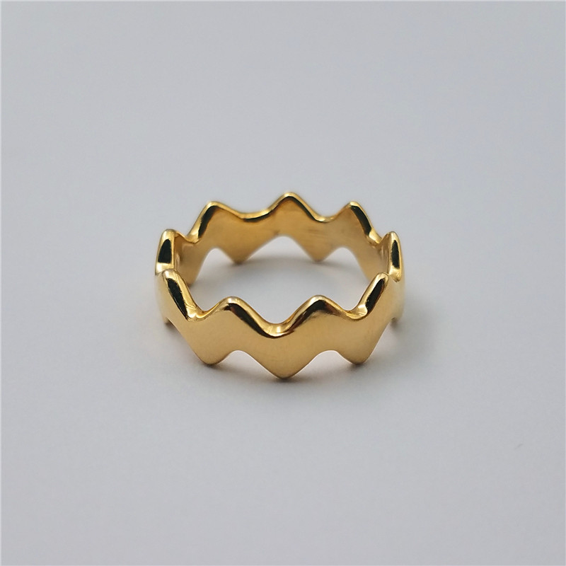 Popular style 18k gold plated wave shape brass ring