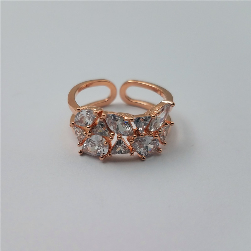Eco-friendly material adjustable brass ring with AAA CZ stones