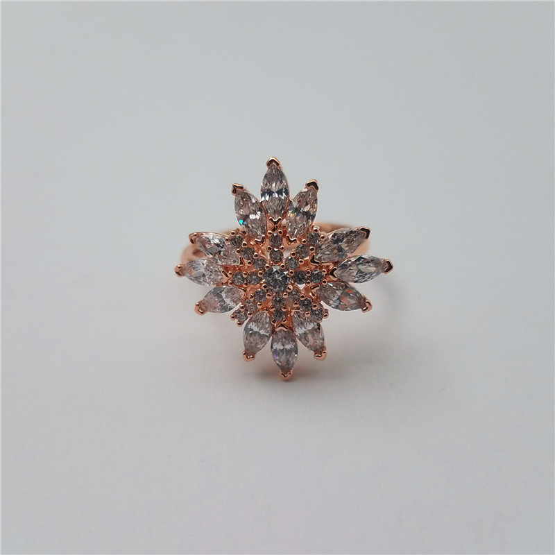 New arrival flower shape brass ring with AAA CZ stones