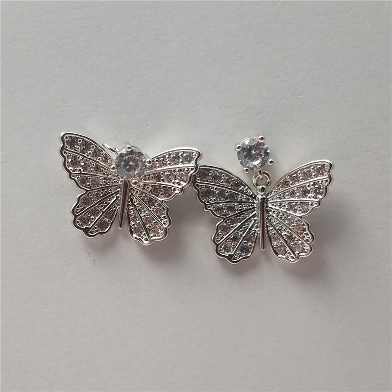 Smart white gold plated butterfly design brass earring with small cz stones