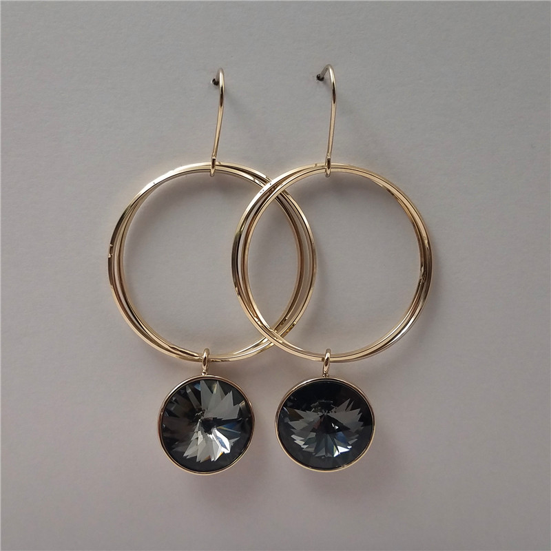 New style gold plated round shape brass earring with black cz stones
