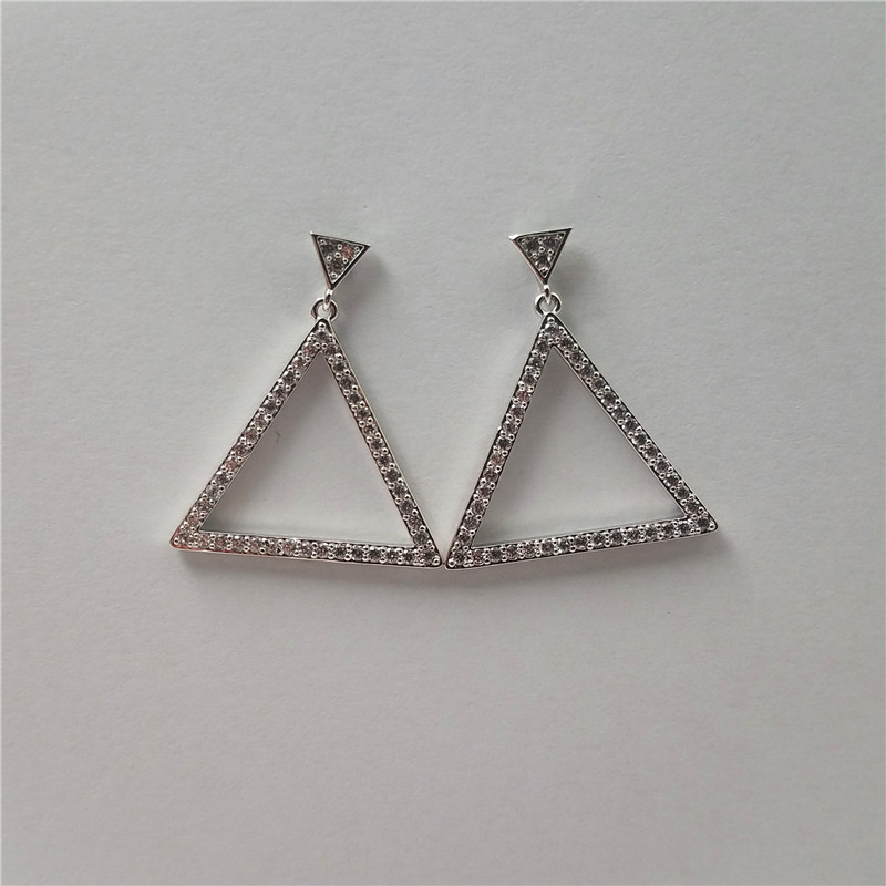 Popular white gold plated triangle shape marco pave samll cz stones earring