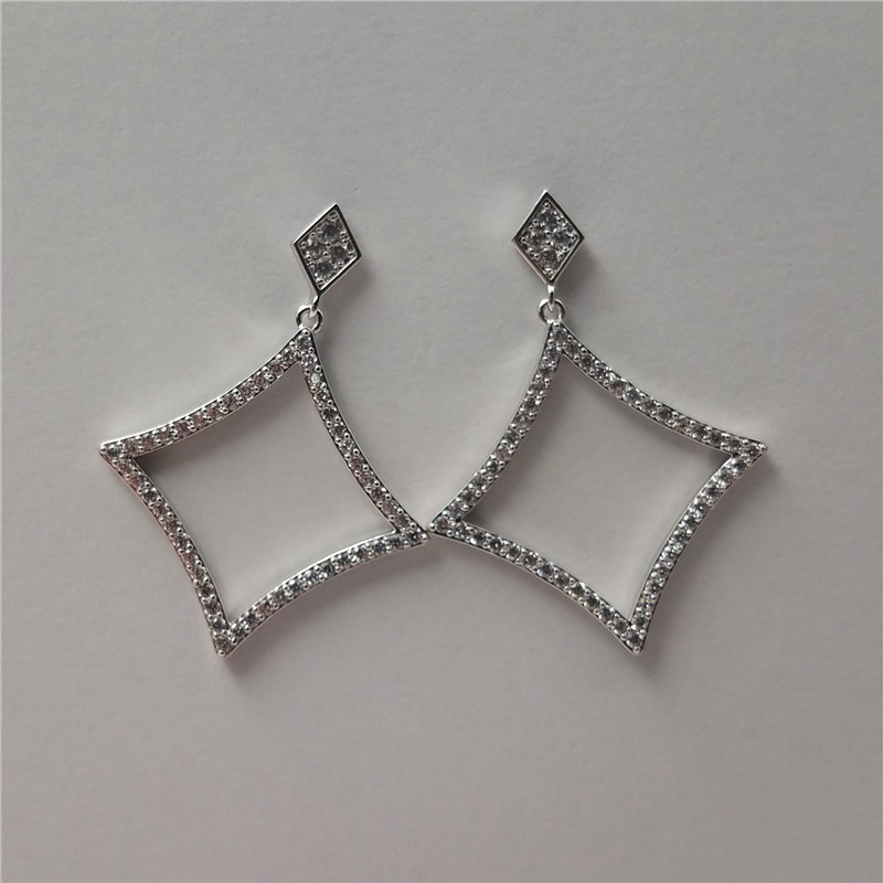New arrival white gold plated marco pave samll cz stoens brass earring