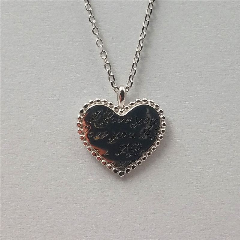 Fashionable 925 sterling silver heart design white gold plated nacklace