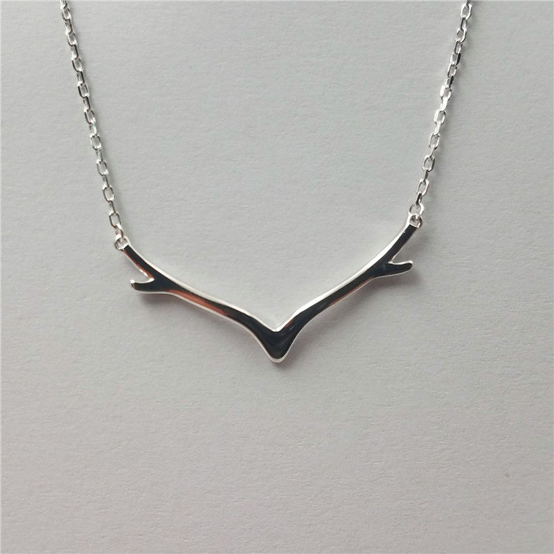 Smart 925 sterling silver deer horn design nacklace for christmas