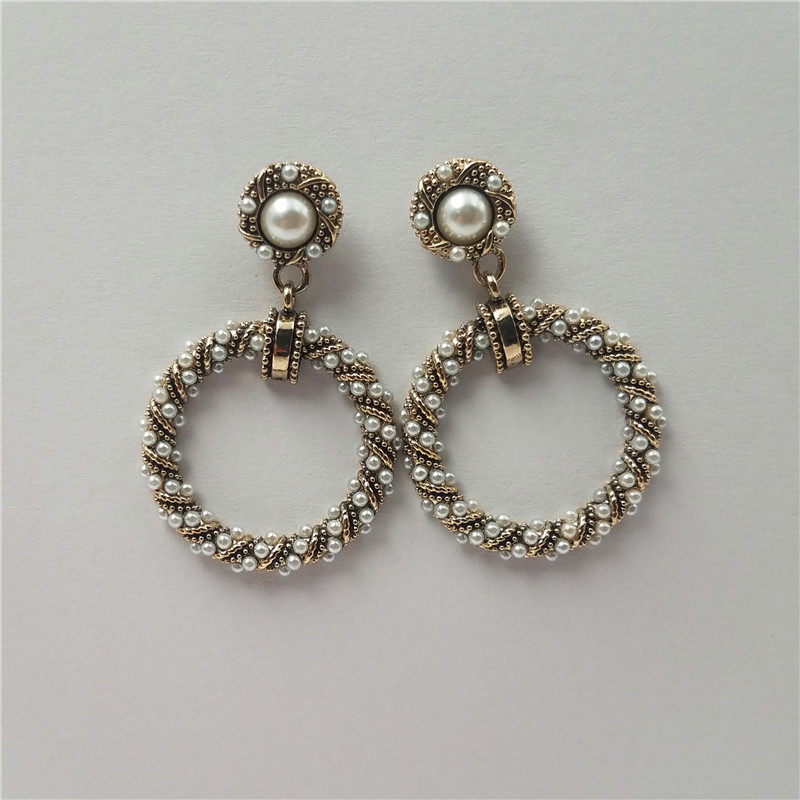 New arrival eco-friendly material brass earring with small pearl